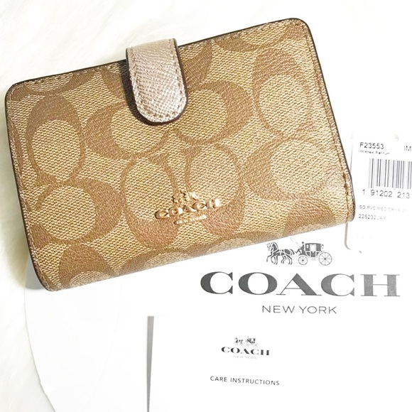 5dc88122956c ... czech coach medium corner zip khaki platinum wallet d1681 27b0c